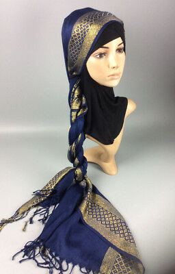 Muslim Women Hijab Tassel Long Scarf HeadWrap Islamic Big Shawls Hat Scarves Cap 2