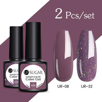 UR SUGAR 2 Bottles 7.5ml Nail UV Gel Polish Soak Off Gel Nail Polish Glitter Kit 10