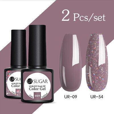UR SUGAR 2 Bottles 7.5ml Nail UV Gel Polish Soak Off Gel Nail Polish Glitter Kit 11