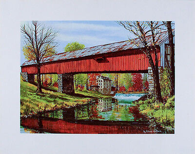VINTAGE Country Church ART PRINT Millhousen Indiana TWILIGHT W Harold Hancock