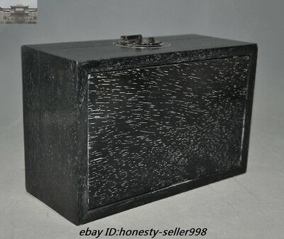 "8""Old Chinese Palace Rosewood Wood Carved Dragon Totem Jewelry Boxstorage boxes 9"