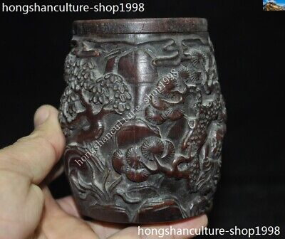 Marked Chinese Dynasty Ox horn Carved Pine tree Old Man Drum shape Box Boxes 6