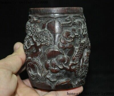 """4""""Collect Rare China Chinese Old Ox Horn Carved Pine Tree man boy Drum Box Boxes 6"""