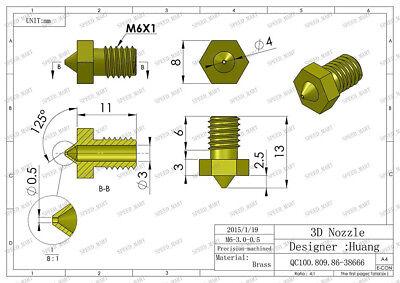 0.5mm Nozzle 3D Printer Extruder Head Hot End for J-head 3.0mm Filament 4