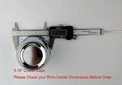 "4 Push Through Chrome Center Caps Fit 3.18"" Rims Center Bore Dimensions 6"