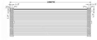 2Pcs 1.27mm Pitch 2x5 Pin 10 Pin 10 Wire IDC Flat Ribbon Cable Length 10CM