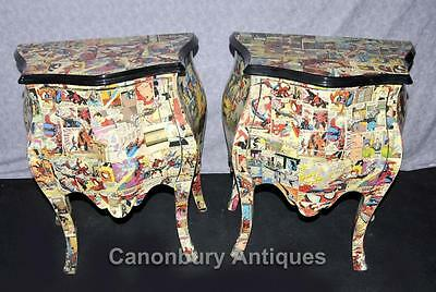 Pair Funky Comic Print Chests of Drawers Deco Commode Bombe 7