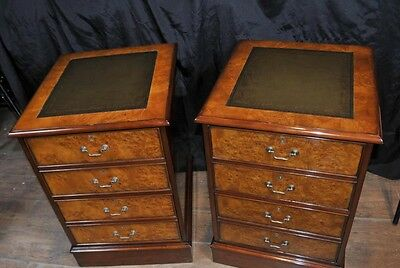 Pair Victorian Walnut Filing Cabinets Office Chest Drawers Furniture 7