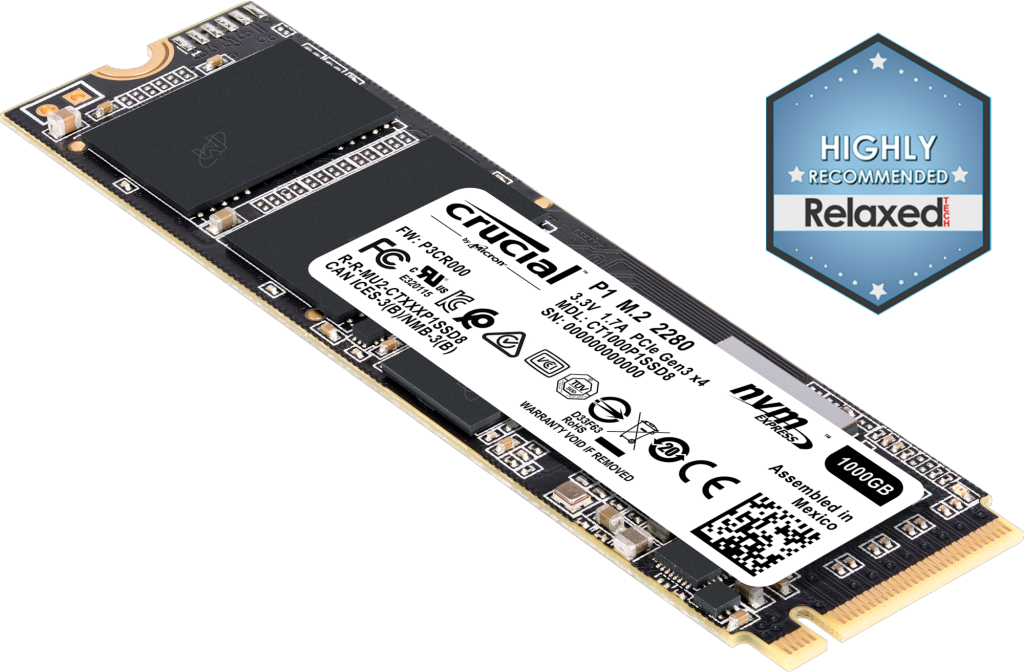 Crucial 1TB SSD P1 M.2 PCIe NVMe 3D NAND Internal Solid State Drive 2000MB/s 2