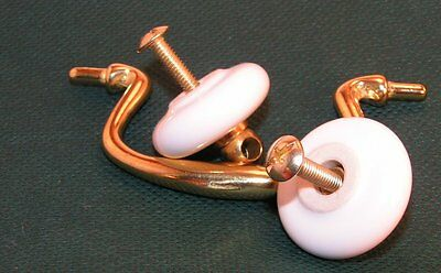 NOS Brass Colonial White Porcelain Bail drawer Cabinet Door Handle Pull Hardware 5