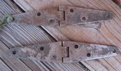 """Vintage 4"""" Length *** HAGER *** Rusted Zinc Plated Strap Hinges Set of 2 USA 3"""