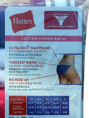 df9bfe1c3 ... Hanes Women s Cotton Sporty String Bikini Panty (Pack of 6) NEW PP42SC 5