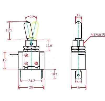 20A illuminato con spia led OFF a levetta 12v interruttore deviatore ON
