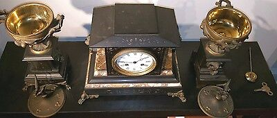 Antique J E Caldwell French Mantel Clock Set w/ Urns Marble Bronze 19th C EXLNT! 2