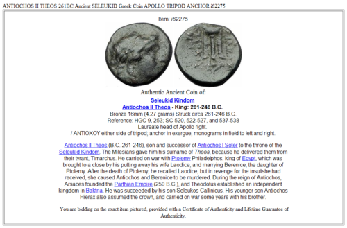 ANTIOCHOS II THEOS 261BC Ancient SELEUKID Greek Coin APOLLO TRIPOD ANCHOR i62275 3