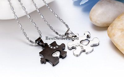 3e26267a26 ... His and Hers Puzzle Piece Heart Couple Pendant Necklaces Promise  Valentine Gift 8
