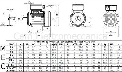 Motore elettrico 3 HP 2,2kW 2 Poli 2800 giri MEC 80 B3 Monofase 220V Compressore 2
