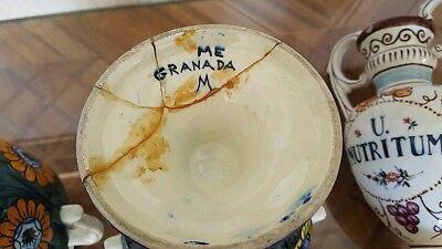 """3 alte Apotheken Amphoren Henkel Vase """"O Juniperi"""" Granada Handgemalt  Vintage 5"""