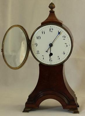 Antique English 8 Day Balloon Head Mahogany Mantle Clock 8