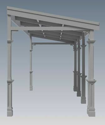 TRADITIONAL TIMBER FLAT ROOF VERANDAH V02 - Full  Building Plans 2D & 3D 3