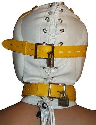 Bondage Leder Kopfmaske Hood Kopf Maske weiß gepolstert 2