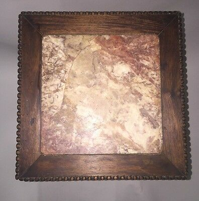 Antique Chinese Hardwood Carved Marble Inset Side table 10