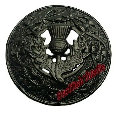 "Men's Scottish Kilt Fly Plaid Brooches Thistle Crest Black 3""/Thistle Emblem/New"