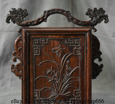 """11"""" Old China Huanghuali Wood Dynasty Portable Layer Drawer Jewelry Box Cabinet 3"""