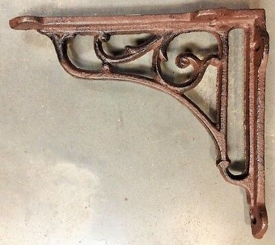 Set of 2 Gothic Vine Corbel cast iron shelf brace bracket antique brown finish 2