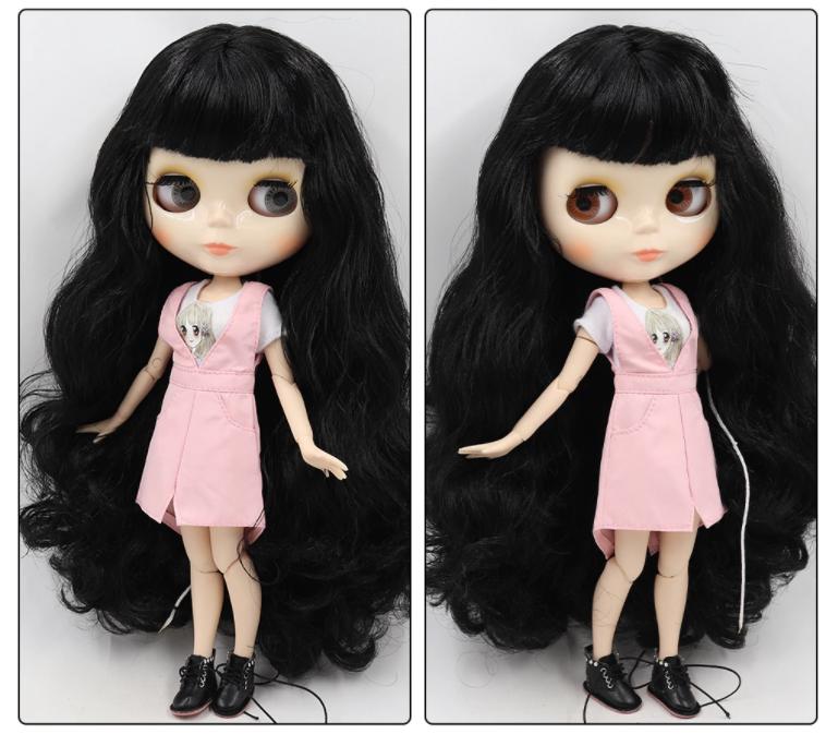 Long Black Hair Blythe doll joint Dark Skin body 1//6 BJD 4 Changing Eyes