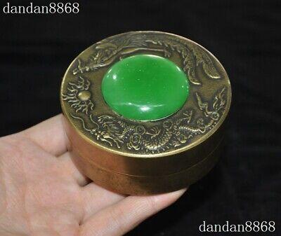 Old Chinese Dynasty Palace bronze inlay green Jade Gem Dragon Phoenix box boxes 4