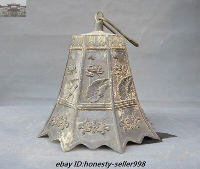 """23""""Old Chinese Buddhism Temple Bronze Lotus flower Hanging Pray Bell Zhong Bells 8"""