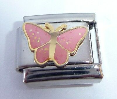 Pink Glittery Butterfly Italian Charm Bracelet Charms Link