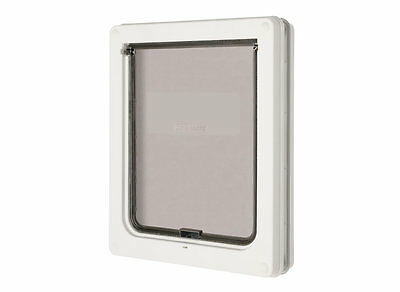 Lockable Medium Dog Flap  / Cat Flap For Upvc / Timber Door - White (215W) 2