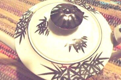 Vintage Porcelain Japanese Teapot KUTANI White with Silver Landscape Design