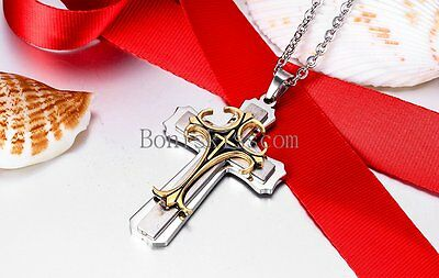 Triple Layer Tri-tone Celtic Cross Stainless Steel fleur de lis Pendant Necklace 3