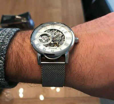 Men Skeleton Mechanical Wrist Watch Stainless Steel Luxury Steampunk Wristwatch 4
