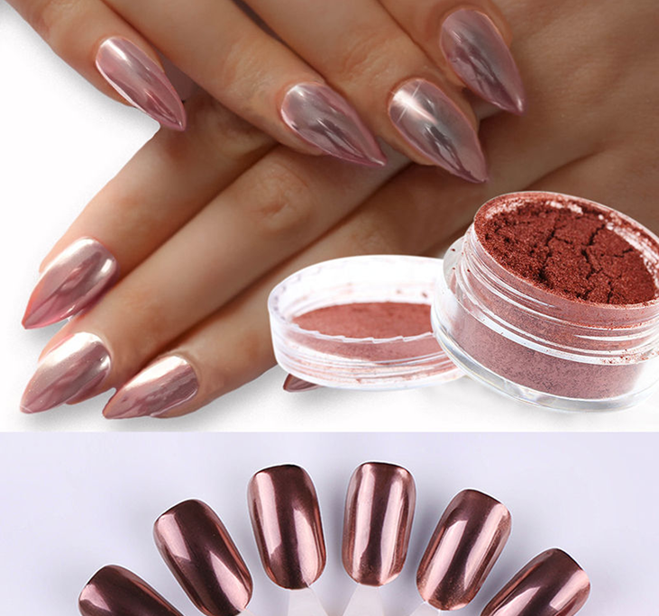NEW ROSE GOLD NAILS POWDER Mirror Chrome Effect Pigment Nail Art ...