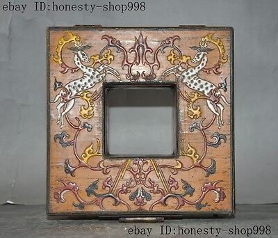 Old China Bronze Lacquerware Carved Auspicious Sika deer Jewelry Case Box Boxes 4