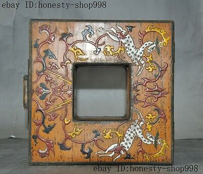 Old China Bronze Lacquerware Carved Auspicious Sika deer Jewelry Case Box Boxes 9