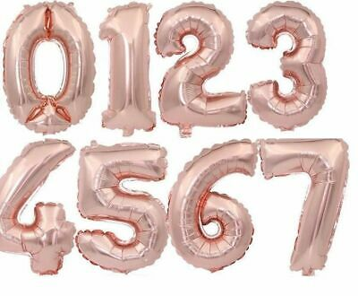 Rose Gold Happy Birthday Balloons Foil Number 16th 18th 21st Age Decorations 4
