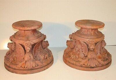 Vintage Pair Figural Griffin Fiberglass Garden Pedestals Architectural Stands 4