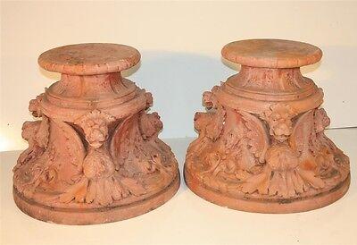 Vintage Pair Figural Griffin Fiberglass Garden Pedestals Architectural Stands 11
