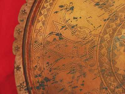 Antique Muslim Islamic Style Copper Serving Tray Marked 9