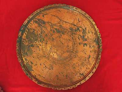 Antique Muslim Islamic Style Copper Serving Tray Marked 2