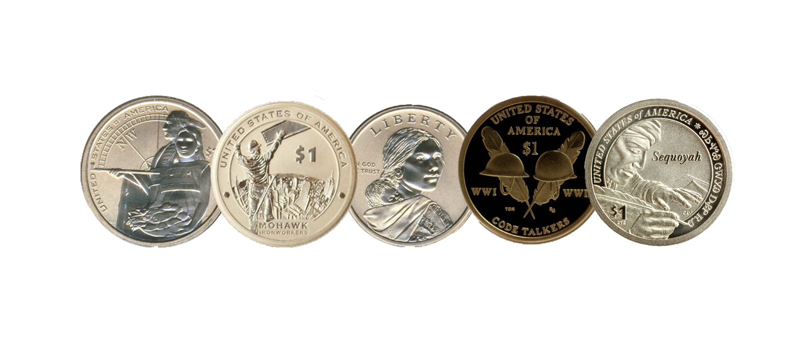 2014-2018 Sacagawea Native American 5 Coin ENHANCED/REVERSE PROOF Dollar Set 2