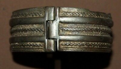 Antique Greek folk silver hinged cuff bracelet