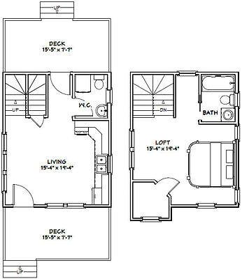 16X20 TINY HOUSE -- 586 sq ft -- PDF FloorPlan -- Model 9C