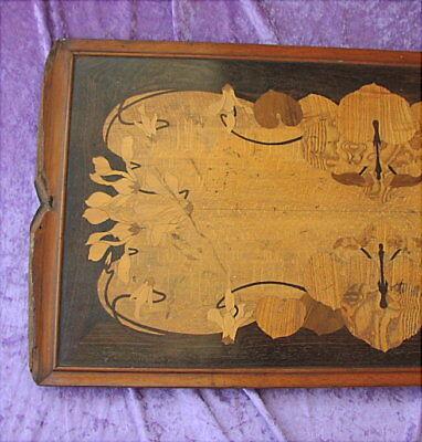 Grosses altes Tablett Jugendstil um 1900 Art Nouveau Tray marquetry 2