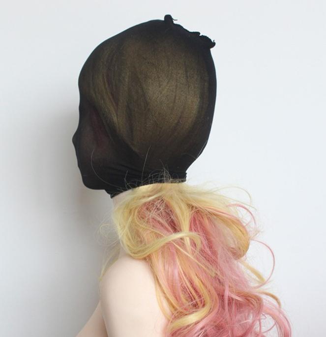 Unisex Fetisch Maske Cosplay Bondage BDSM Nylon Strumpfhosen-Stoff schwarz 5